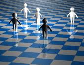 Teamwork abstract concept with chessboard blue illustration — Stock Photo
