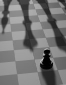 Chess fight concept with single pawn — Stock Photo