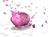 Broken piggy bank isolated illustration, spending money savings abstract concept — Stock Photo