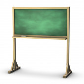 Green school wooden chalkboard and a chalk isolated 3d illustration — Stock Photo