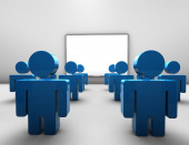 Lecture, business conference and educational training concept with blue people — Stock Photo