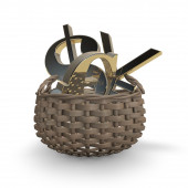 Forex concept with money symbols in basket — Stock Photo