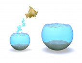AmbitiousgGold fish jumping hight, rise and improvement concept. — Stock Photo