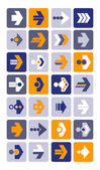 Vector illustration of plain arrow icons. Eps10. — Stock Vector