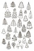 Set of Christmas black trees isolated on white background. Graphic design editable for your design. — Stock Vector