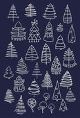 Set of Christmas white trees isolated on dark background. Graphic design editable for your design. — Stock Vector