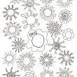 Sun symbols for your design. Hand drawn set of different suns isolated. — Stock Vector #58766983