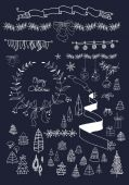 Christmas design elements set on blackboard. EPS 10.  No gradients. — Stock Vector