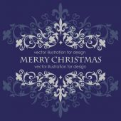 Merry Christmas message and dark blue background. — Stock Vector