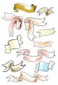 Vintage ribbon banners, hand drawn set. Vector illustration. — Stock Vector