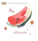 Watercolor illustration of watermelon.  No transparency. Gradients. — Stock Vector