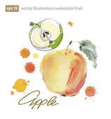 Akvarell frukt äpple- och päronträd. — Stockvektor
