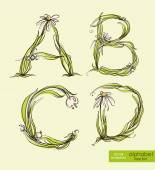 Spring floral stylized hand drawing alphabet.  Vector illustration. — Stock Vector