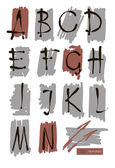 Vector art sketched stylized grunge alphabet. Hand drawn letters. — Stock Vector