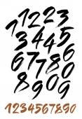 Vector set of calligraphic acrylic or ink numbers — Stock Vector