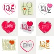 Romantic pastel inscription love on the background of stylized heart. Set. — Stock Vector #63785595