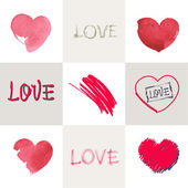 Romantic pastel inscription love on the background of stylized heart. Set. — Stock Vector