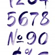 Watercolor hand written purple numbers. Vector illustration — Stock Vector #68058069