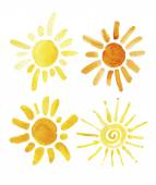 Hand drawn set of different suns isolated. Vector illustration. Elements for design. Watercolor — Vector de stock