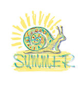 He inscription in the summer with a stylized colored snail and sun. Vector. — Stock Vector