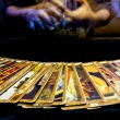 Man hand playing tarrot cards with slow speed — Stock Photo #71968773