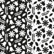 Set of black and white floral seamless patterns. Vector eps 10. — Vecteur