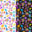 Set of bright floral seamless patterns. Vector eps 10. — Stock Vector #52282001
