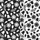 Set of black and white floral seamless patterns. Vector eps 10. — Stock Vector