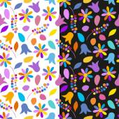 Set of bright floral seamless patterns. Vector eps 10. — Stock Vector