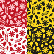 Set of floral seamless patterns in red and yellow colors. Vector eps 10. — Stock Vector #52529855