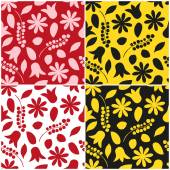 Set of floral seamless patterns in red and yellow colors. Vector eps 10. — Stock Vector