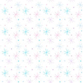 Vector seamless pattern with color snowflakes on a white background — ストックベクタ