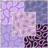Set of abstract seamless patterns with decorative elements in violet tones. Vector eps 10. — Stock Vector