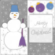 Christmas greeting card with snowman and decorations. Vector eps 10. — Stock Vector #55593097