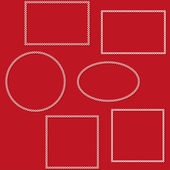 Set of isolated decorative white frames on a red background. Vector eps 10. — 图库矢量图片