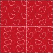 Set of abstract seamless patterns with hearts of the rings in red and white colors. Vector eps 10. — Stock Vector #60416565