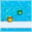 Christmas greeting card with christmas tree, christmas balls and place for your text on a blue background. Vector eps 10. — Stock Vector #60802811