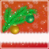 Christmas greeting card with christmas tree, christmas balls and place for your text on a red background. Vector eps 10. — Stok Vektör