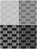 Set of dark vintage seamless patterns in black and white and grayscale. Vector eps 10. — Stock Vector
