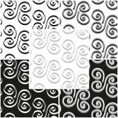 Set of abstract vintage seamless patterns in black and white and grayscale. Vector eps 10. — Stock Vector