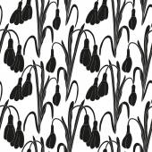 Seamless black and white pattern with silhouettes of snowdrops on a white background. Vector eps 10. — Stock Vector