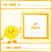 Baby frame with smiling cartoon sun and space for your text and photo in yellow and orange colors. Vector eps 10. — Stock Vector