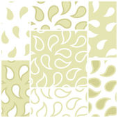 Vector set of seamless patterns with abstract drops in white and pistachio. Eps 10. — Vettoriale Stock