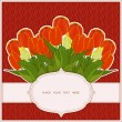 Greeting card with a bouquet of tulips on a dark red background with braids with place for your text. Vector eps 10. — Stock Vector #66705303