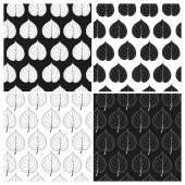 Vector set of black and white seamless patterns with leaves of linden. Eps 10. — Stock Vector