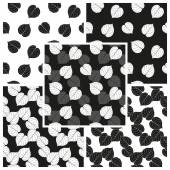 Vector set of black and white seamless patterns with falling leaves of linden. Eps 10. — Stock Vector