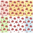 Set of baby seamless patterns with amanitas and ladybirds on backgrounds of different colors. Vector eps 10. — Stock Vector #67608981