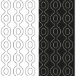 Vector set of abstract seamless black and white patterns with the contours of the chains. Eps 10. — Vector de stock  #69425403