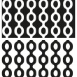 Vector set of abstract seamless black and white patterns with chains. Eps 10. — Vetor de Stock  #69425405