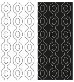 Vector set of abstract seamless black and white patterns with the contours of the chains. Eps 10. — Stock Vector